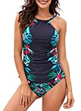 Dearlove Floral Print High Neck Tankini Tops Ruched Tummy Control Swimsuit with Short Strappy Swimwear A-Black M