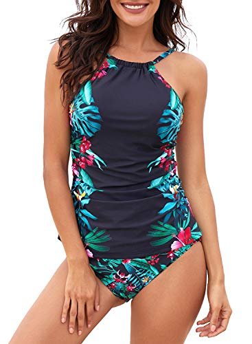 Dearlove Floral Print High Neck Tankini Tops Ruched Tummy Control Swimsuit with Short Strappy Swimwear A-Black S
