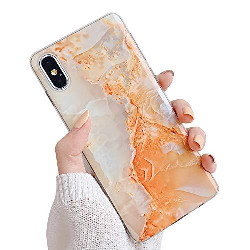 Suhctup - Carcasa de Silicona para Huawei P30 Pro de mármol [con Flores Florales con Purpurina Dorada], diseño de Flores, Color Rosa Naranja 0