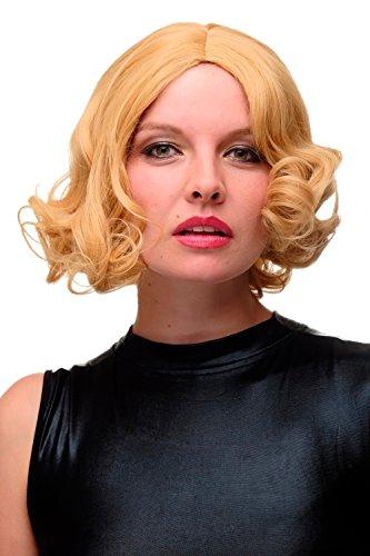 WIG ME UP- peluca de mujer los 20 los 30 swing raya en medio pelo ondulado rubio caramelo GF-W2183-144-86