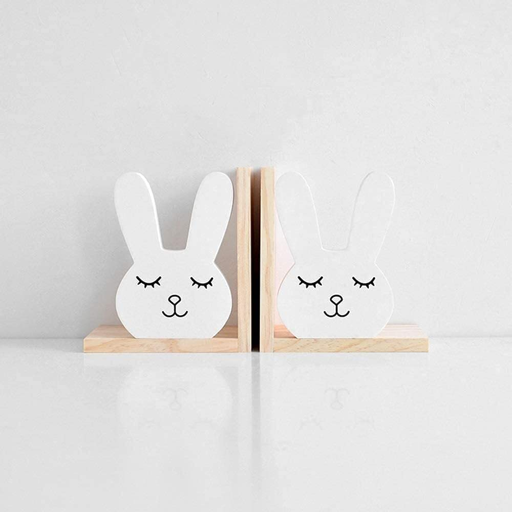 Z.L.Q Ornament Creative Cartoon Rabbit Max 70% OFF San Antonio Mall Shape Bookend Maga Wooden