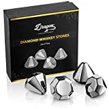 Dragon Glassware Diamond Whiskey Chilling Stones, Reusable Stainless Steel Ice Cubes for Colder Drinks, Set of 4