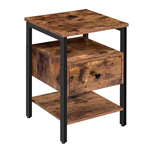 HOOBRO Beistelltisch, Nachttisch mit Schublade, Nachtschrank mit Ablage, Nachtkommode im Industrie-Design, Metallgestell stabiles, leicht montierbar, für Wohnzimmer, Schlafzimmer, Vintage EBF42BZ01