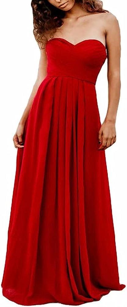 A-Line Chiffon Bridesmaid Dress Halter Floor Length Women Formal Evening Dresses-Red-2
