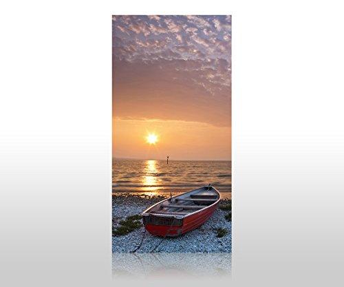 wandmotiv24 Duschrückwand Meer mit Boot 100 x 200cm (B x H) - Acrylglas 4mm Duschwand Design, Wanddeko für Dusche & Bad, Fliesen-Abdeckung, Deko-Set Duschkabine M0173