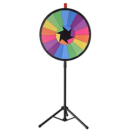 WinSpin 24' Tripod Editable Color Prize Wheel 18 Slot Spinning Game with Dry Erase for Live Stream Tradeshow Carn