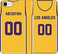 iPhone/Xperia/Galaxy/他機種選択可:オリジナル 部活 好きな 背番号/名前をカスタマイズ バスケ ユニフォーム スマホケース 手帳ケース(ホーム/チーム:ロサンゼルス) 07 iPhone8