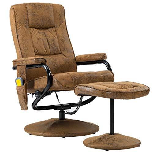 vidaXL Elektrischer Massagesessel mit Fußhocker Heizfunktion Fernsehsessel Relaxsessel Ruhesessel TV Sessel Liegesessel Braun Wildleder-Optik
