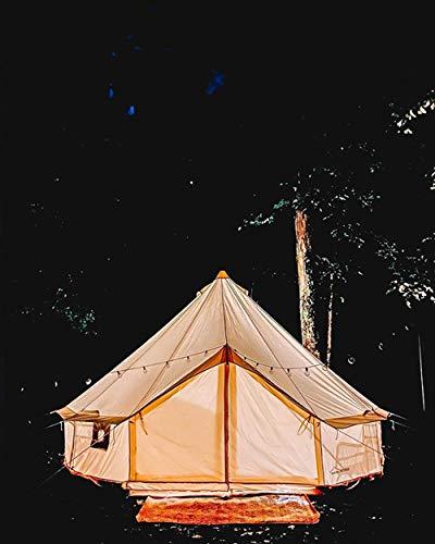 DANCHEL OUTDOOR 4-Season Waterproof Yurt Cotton Canvas 3M Bell Tent Family Glamping 10ft Khaki