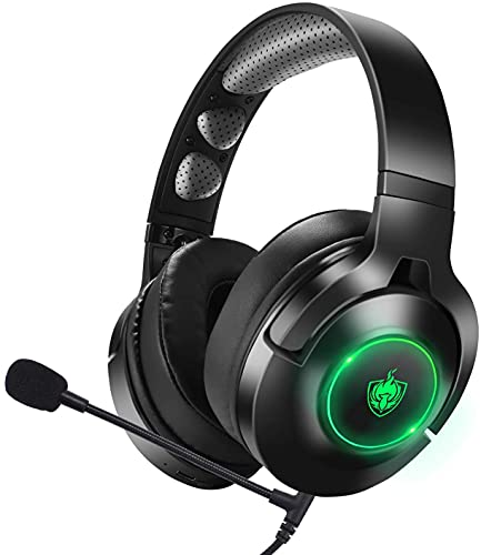 Headset PS4, Gaming Headset für Xbox One, Nintendo Switch, PC, 7.1 Bass Surround Wireless Bluetooth Headset, Kabel Gaming Kopfhörer mit Noise Cancelling Mik, Drehbar Ear Cups, LED Licht - Green