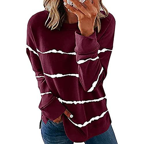 Sudadera con cuello redondo para mujer, estilo vintage, con estampado de tallas grandes, de manga larga, suelta, para mujer, Vino, M