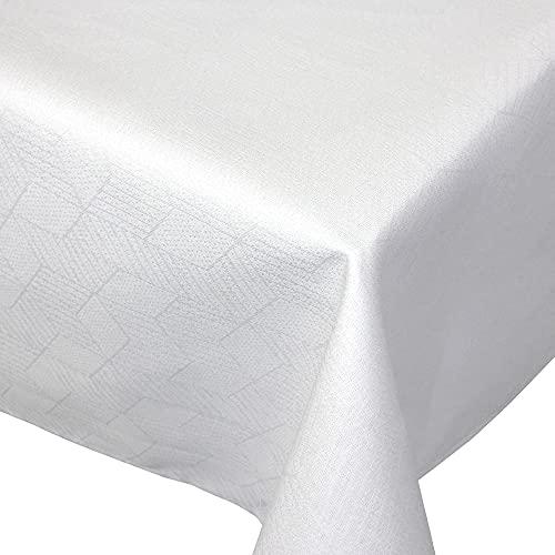 Nappe carrée 150x150 cm Jacquard 100% coton CUBE blanc