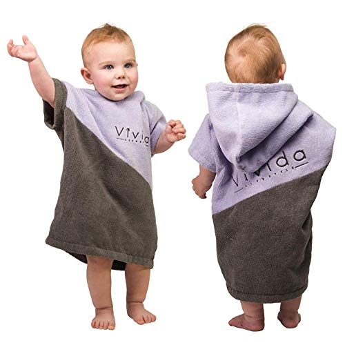 Vivida Lifestyle – Premium Poncho Handtuch mit Waffle-Kapuze, Große Tasche mit Reisverschluss für den Strand, zum Surfen (Baby für 0-3 Jahre, Grau/Violett)