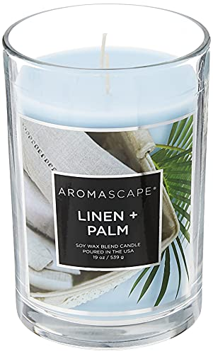 Aromascape PT41922 2-Wick Scented Jar Candle, Linen & Palm, 19-Ounce, Blue