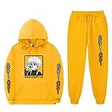XIELH Conjunto Deportivo Hombre Chandal de Jogging para Hombre Deportivo Chándal con Capucha y Cremallera Conjunto de Ropa Impresión de Anime-Yellow_XL