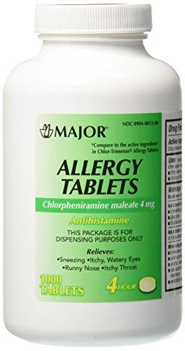 Major Pharmaceuticals Chlorpheniramine Maleate 4 mg Anti-Allergy Tablets, 1000 Count