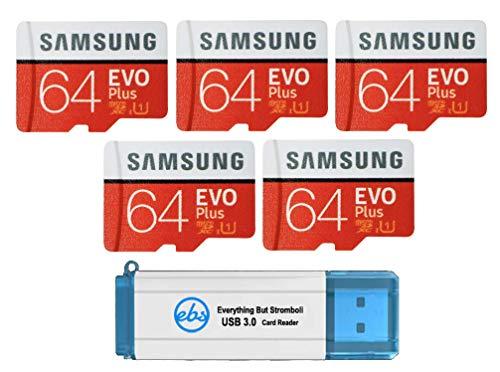 Cartão microSD Samsung 64GB Evo Plus (pacote com 5) cartão de memória SDXC Classe 10 com adaptador (MB-MC64) conjunto com (1) leitor Tudo menos Stromboli 3.0 com compartimentos SD e Micro (TF)