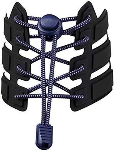 Wacemak1r Cordones elásticos cordones planos ajustables cuerda de tensión accesorios para niños adultos zapatos deportivos azul