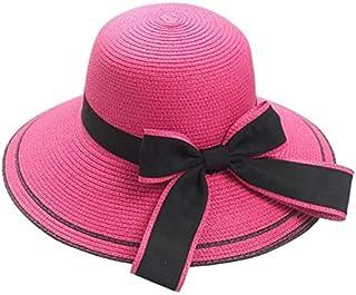 BEESCLOVER Sunday Outdoor Sports Floppy Foldable Ladies Women Bow Straw Beach Sun Summer Hat Wide Brim