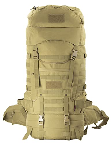 XMILPAX Tactical Internal Frame Backpack Military Rucksack MOLLE Patrol Pack for Hunting Hiking Camping Backpacking Trekking 70L (Coyote)