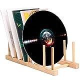 Vinyl Record Storage Holder Stand Rack Eco Friendly Wooden CD Display Stand, Stackable Modern CD Holder Portable Countertop Desktop Magazine Rack iPad Stand Record Storage Shelf - for 12' and 7' Recor