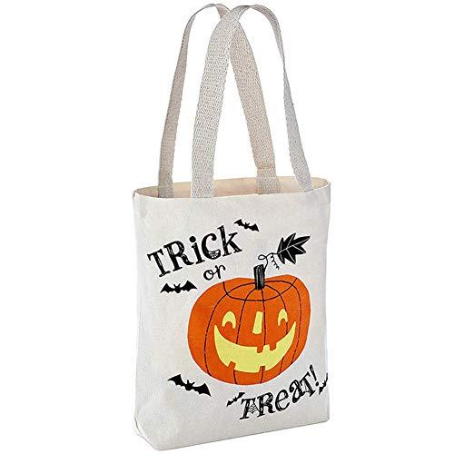 Maxte Bolsa de tela reutilizable para Halloween, diseño de calabaza o truco