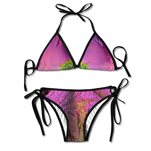 Earth Lavender Wonderland Bikini Women's Summer Swimwear Triangle Top Bikinis Swimsuit Sexy 2-Piece Set