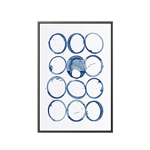 Modern Abstract Canvas Paintings Blue Wall Picture Nordic Posters and Wall Art Print Living Room Decoration Home Office Decor,60x80cm no Frame,B