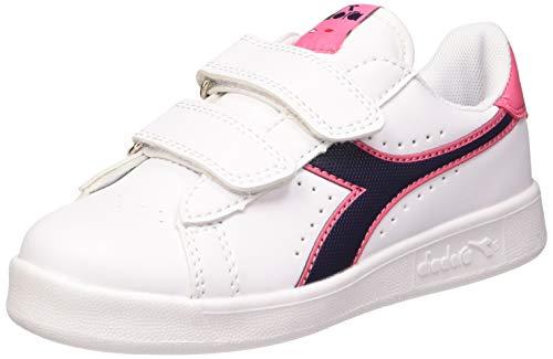 Diadora Game P PS, Scarpe da Fitness Unisex Bambini, Bianco (White/Black Iris/Pink Passion C8593), 35 EU