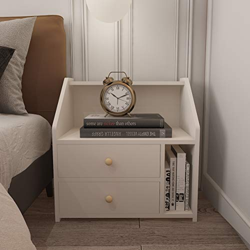 Vanimeu Wooden Bedside Cabinets White Bedside Table Night Stand Side Table with Storage Drawers Bedroom Furniture (white)
