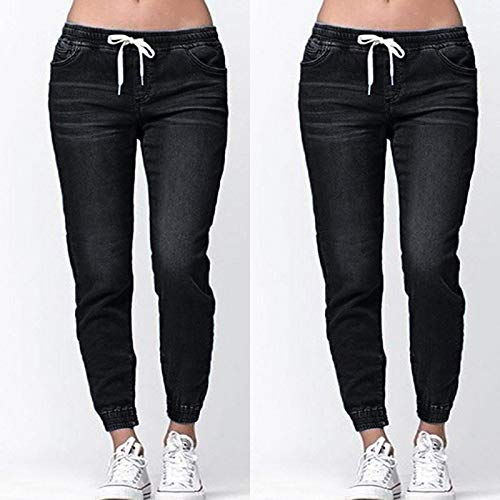 Jeans Middle Waist Ladies Lantern Jeans Women Skinny Fashion Casual Drawstring Jeans Simple Jeans M Black