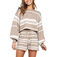 SYZRI Women's 2 Piece Knit Outfits Puff Sleeve Crop Top Shorts Set Sweater Sweatsuit