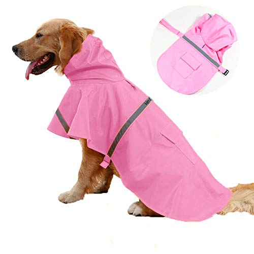 JWPC Dog Raincoat Reflective Waterproof Lightweight Adjustable Dog Rain Jacket with Hood for Small...