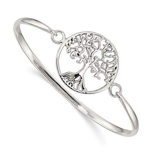 925 Sterling Silver Tree Of Life Slip On Bangle Bracelet Cuff Expandable Stackable Hinged Fine Jewelry For Women Gifts For Her