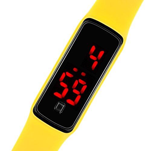 Taffstyle Unisex Armbanduhr Digitale Sportuhr Silikonuhr mit LED Damen Herren Digital Sport Silikon Uhr Gelb
