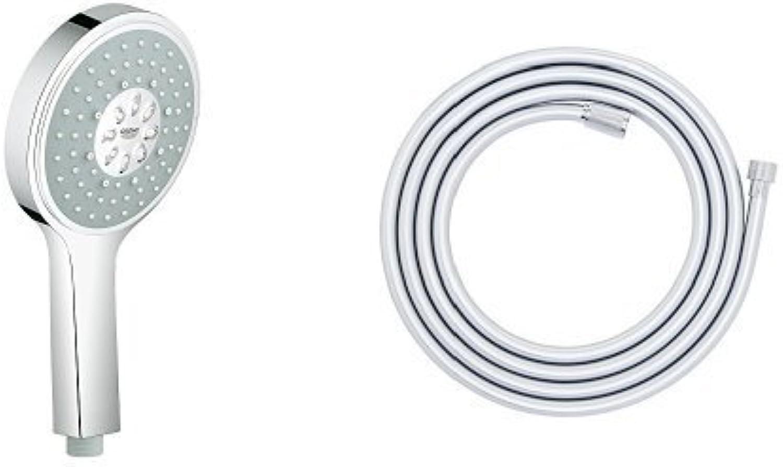 GROHE Power&Soul Cosmopolitan Handbrause, 4+ Strahlarten, 130mm Durchmesser, 27664000 + Brauseschlauch (Silberflex) ,1,75m ,Edelstahloptik, (28388000)