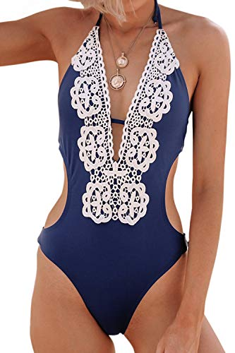 CUPSHE Women's Hermosa Love Self Tie Halter Lace One-Piece Swimsuit Large Dark Blue