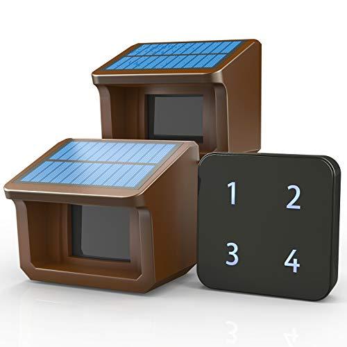 Driveway Alarms- 1/2Mile Solar Driveway Alarm System- Up to 70FT Wide Sensor Range- Fully Weatherproof Outdoor Motion Sensor&Detector DIY Security Alert System-1 Receiver and 2 Sensors KIT