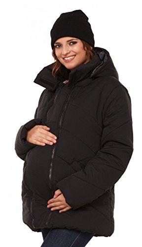 Happy Mama. Damen Kapuzen Wattierte Jacke herausnehmbaren Einsatz Langarm. 075p (Schwarz, EU 42, XL)