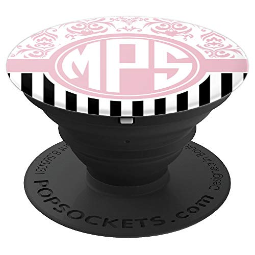 MPS Monogram Gift Pink Damask Initials MPS or MSP PopSockets Grip and Stand for Phones and Tablets