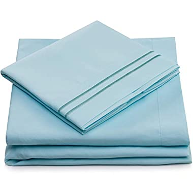 Queen Size Bed Sheets - Baby Blue Luxury Sheet Set - Deep Pocket - Super Soft Hotel Bedding - Cool & Wrinkle Free - 1 Fitted, 1 Flat, 2 Pillow Cases - Light Blue Queen Sheets - 4 Piece