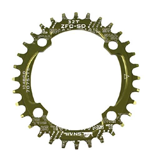 lamta1k Fahrrad-Kettenblatt, rund/oval, 104BCD 32T 34T 36T 38T schmales breites einzelnes Kettenblatt für Fahrrad – grüne 38 runde Platte