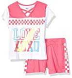 XOXO Girls' Little Active Top and Short Set, Pink White, 5/6