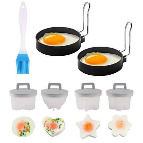 Elinala Ei Ringe, Egglettes, 4PCS Mini Edelstahl Spiegelei Ring und 2PCS Kunststoff Gekochte Eierbecher Set kommt mit Einer Ölbürste