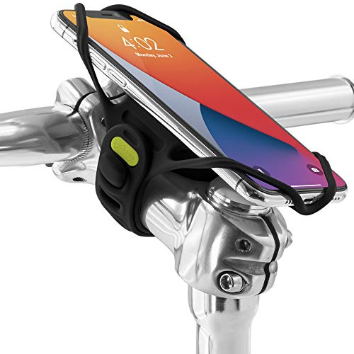 """Bone Bike Tie Pro 4 Bike Phone Holder for Stem Mounting 4.7"""" - 7.2"""" Screen Smartphones, Face ID Compatible, Ultra Light Weight Bicycle Phone Mount, Designed for Road, Race & Touring- Black"""