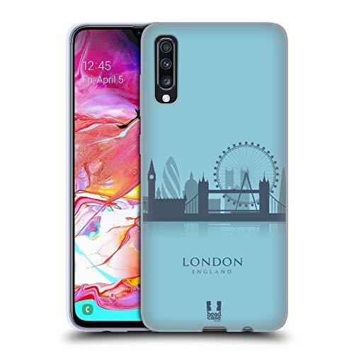 Head Case Designs London Silhouette di Luoghi Famosi - UK Cover in Morbido Gel Compatibile con Samsung Galaxy A70 (2019)