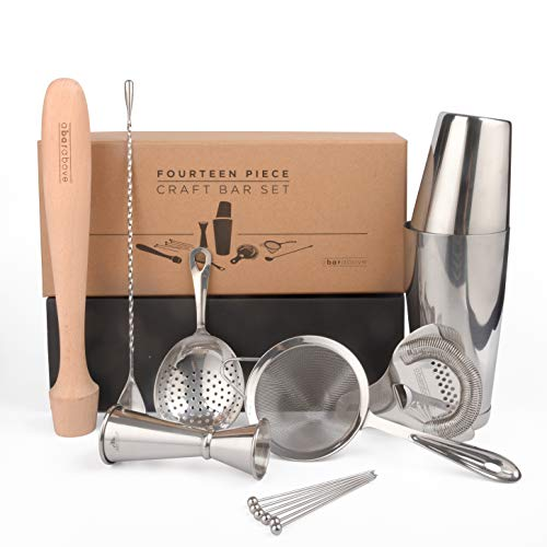 Premium Bar Set by Top Shelf Bar Supply | Craft Cocktail Set for Home Bars and Professional Bartenders | Complete Stainless Steel Barware & Cocktail Shaker Set
