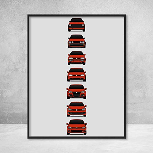 Poster Inspired by Volkswagen Golf GTI Poster Print Wall Art of the History and Evolution of the VW GTI Generations (Car Models: MK1 to MK7)