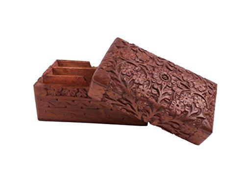 Store Indya Sculpté à la main en bois Enthousiaste Decorative Box de cartes à jouer (12 x.