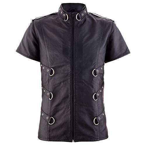The Black Rose - Lederhemd Sinan - Nappaleder - Schwarz - D-Ring - Metal - Punk - Gothic, Schwarz, XXL